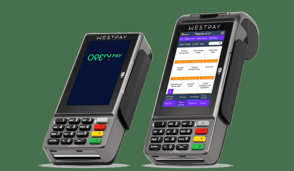 Två olika betalterminaler från OPEN